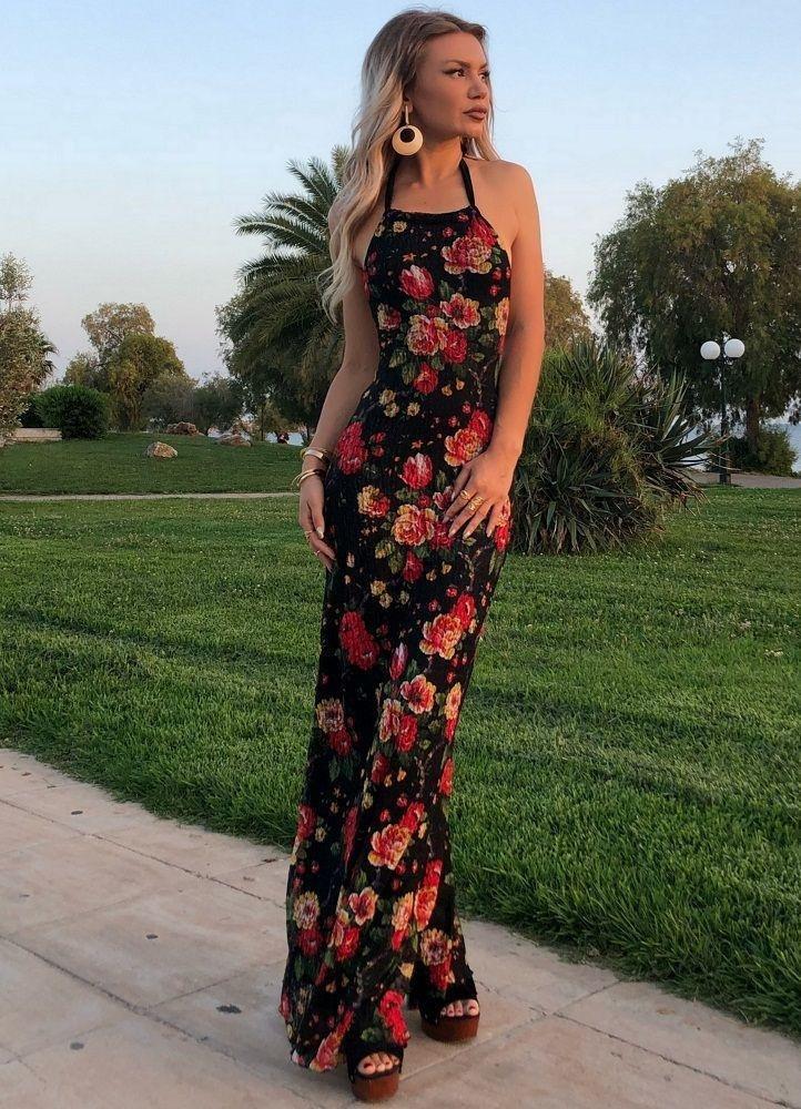 091b99c339cc maxi floral φόρεμα δαντέλα με ανοιχτή πλάτη - Parizianista.gr