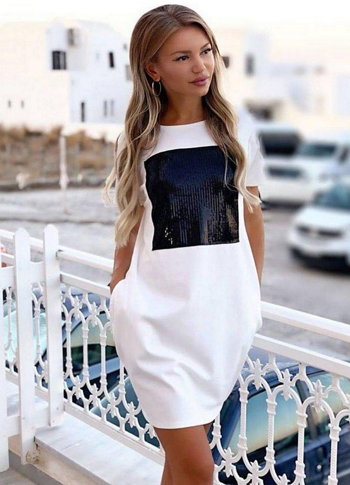 fe731e245a2f φούτερ μπλουζοφόρεμα με τσέπες και μαύρη παγιέτα σχέδιο ...