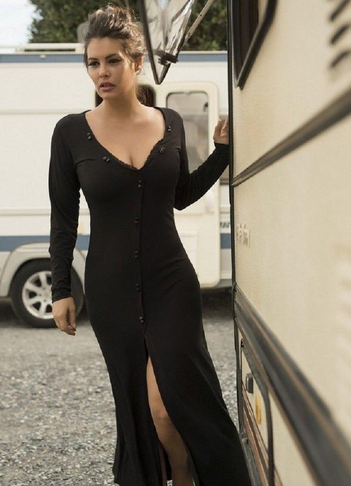 Maxi φόρεμα με δαντέλα στο μπούστο και σκίσιμο μπροστά by Maria ... 6635a379d45