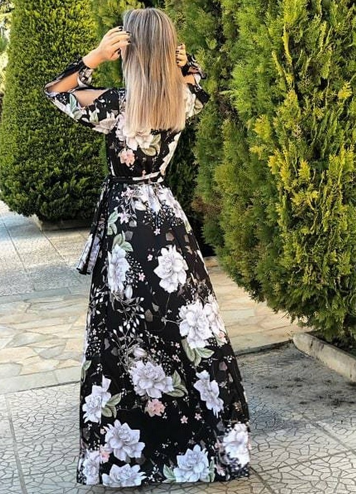 19ec21ff742 maxi φόρεμα με ζώνη & άνοιγμα στα μανίκια - Parizianista.gr