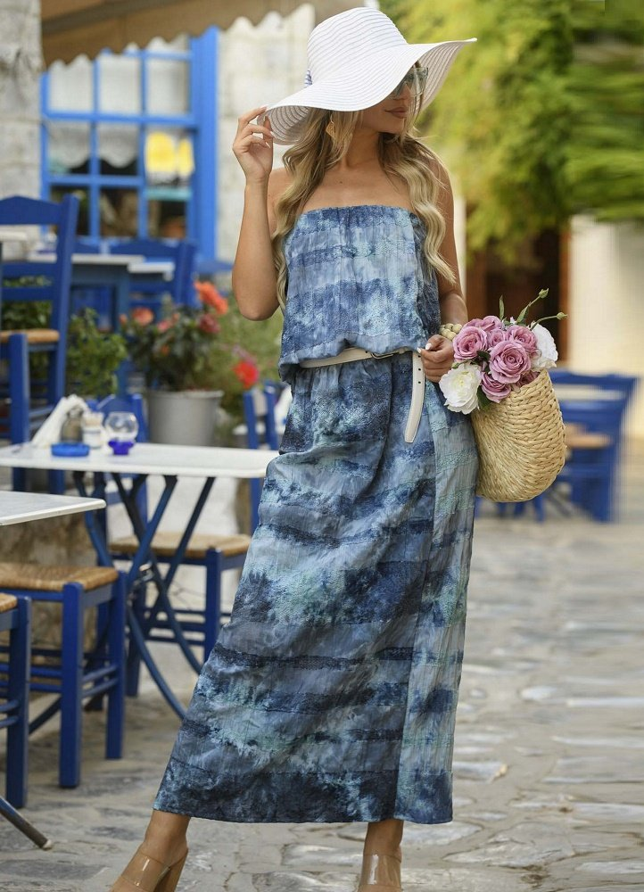 31e9a2cf3ef στραπλες μαξι φόρεμα με λάστιχο στη μέση - Parizianista.gr