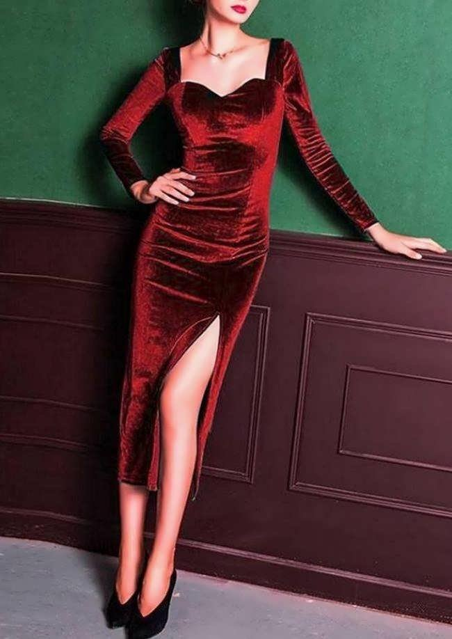 Midi βελουτέ φόρεμα με σκίσιμο - Μπορντώ