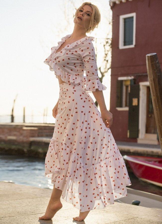 αέρινη φούστα με βολάν by Maria Korinthiou Collection
