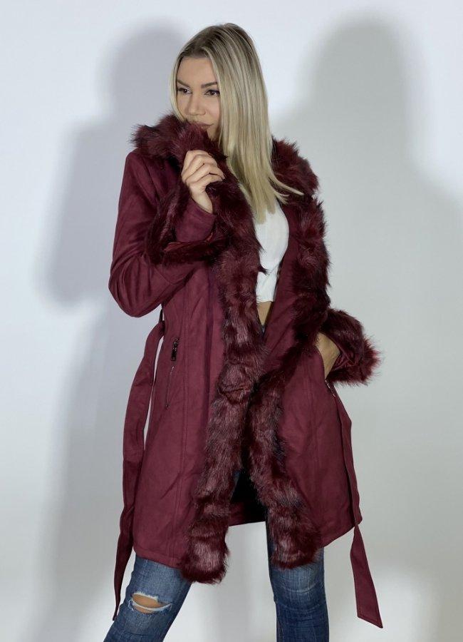 αλκαντάρα jacket με γούνινη επένδυση