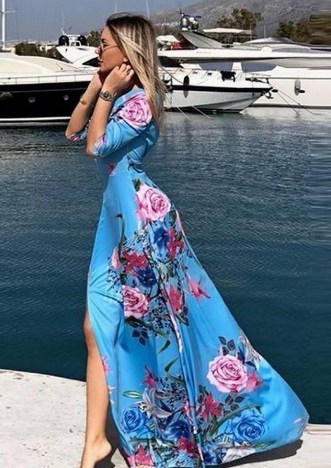 Maxi φόρεμα με σκίσιμο και ανοιχτή πλάτη - Floral