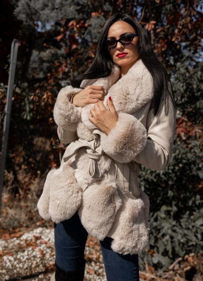 δερματίνη jacket με γούνα - Μπεζ