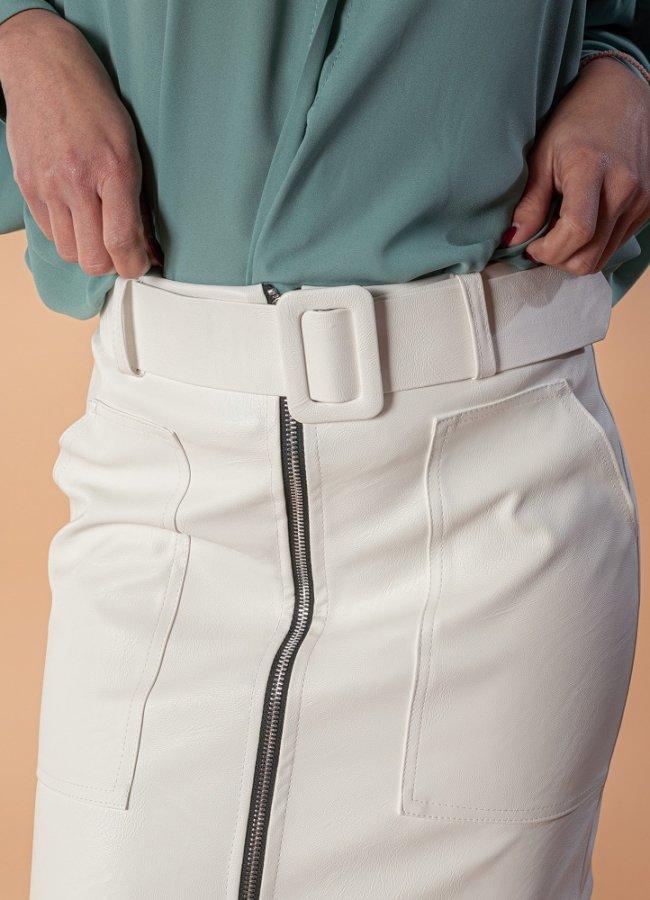 δερματίνη μίνι φούστα με ζώνη