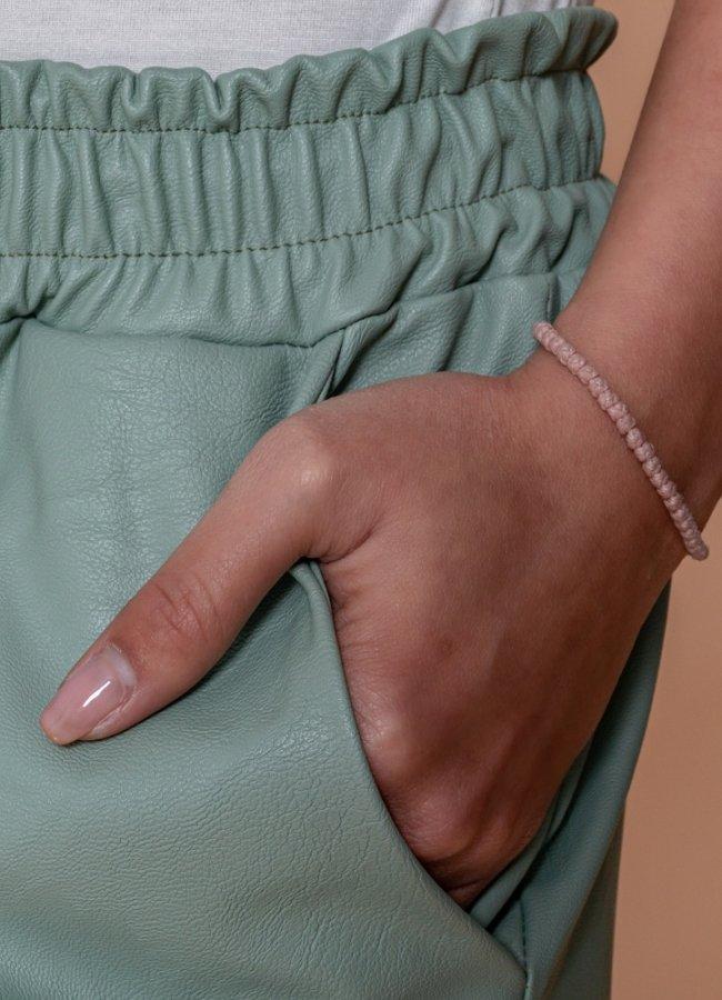 δερματίνη παντελόνι με λάστιχο στη μέση