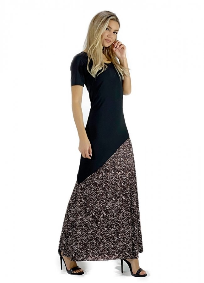 δίχρωμο μάξι φόρεμα