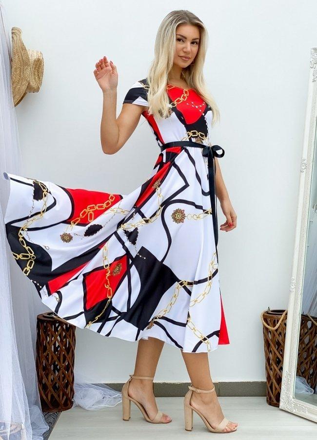 εμπριμέ κοντομάνικο κλος φόρεμα με ζωνάκι