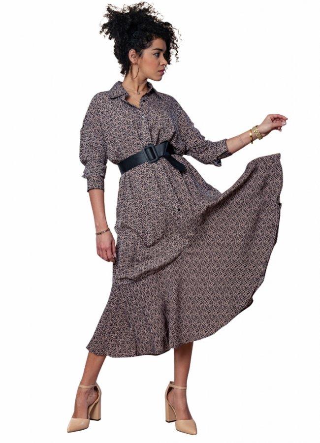 εμπριμέ μάξι φόρεμα με ζώνη