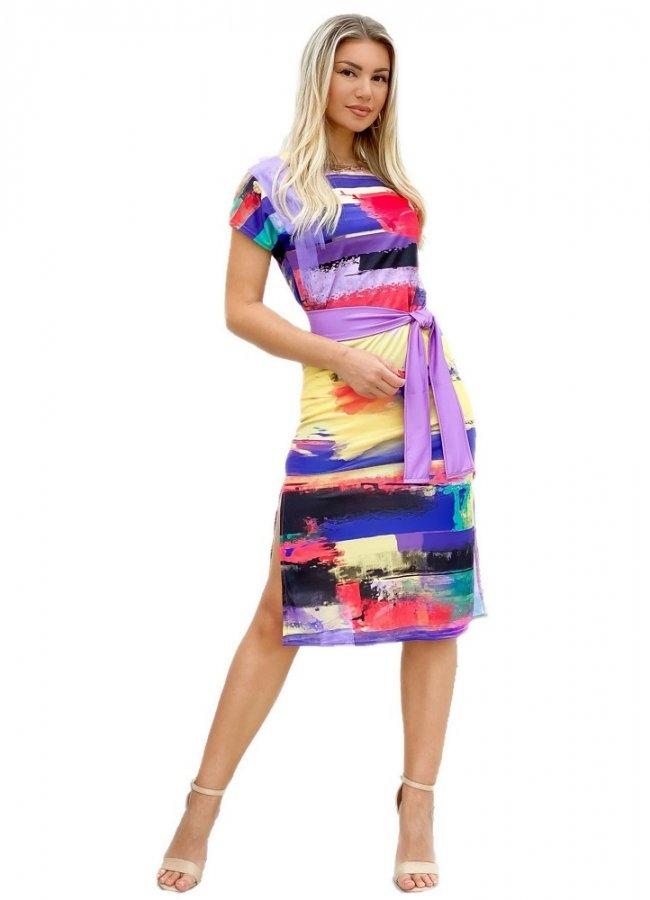 εμπριμέ μίντι φόρεμα με ζώνη