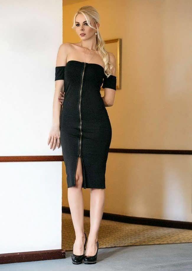 midi φόρεμα με φερμουάρ μπροστά και σκίσιμο 1c5ed5ee6c3