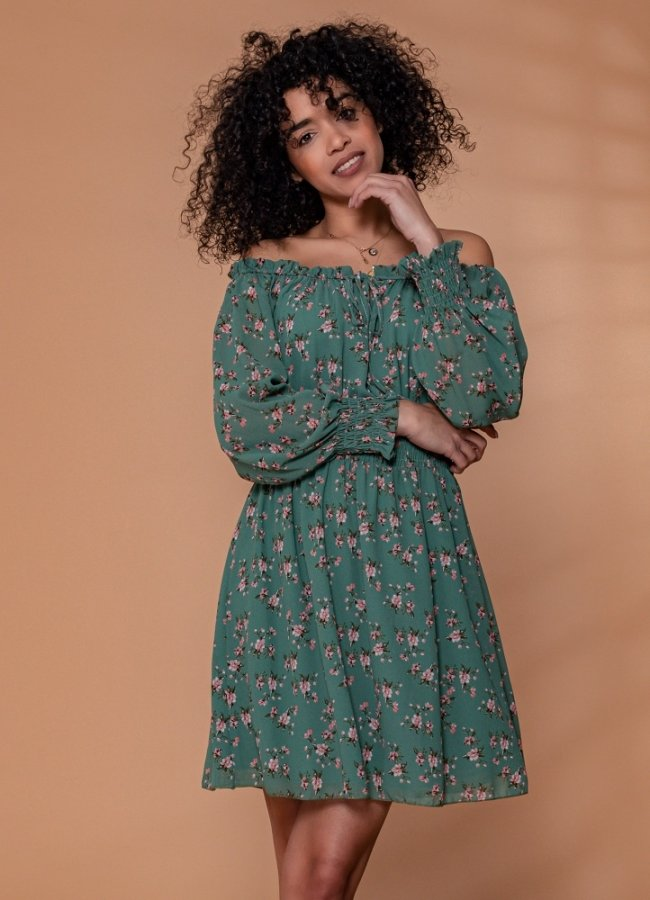 floral έξωμο μίνι φόρεμα