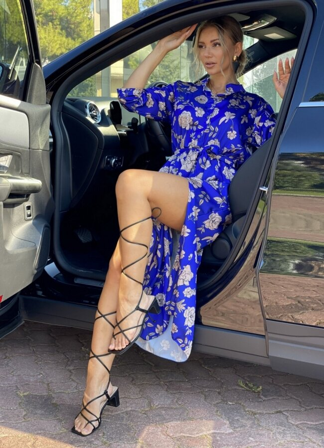 Floral maxi φόρεμα με σκισίματα - Μπλε