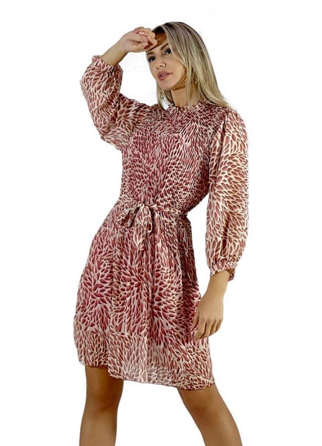 floral μίνι φόρεμα μακρυμάνικο