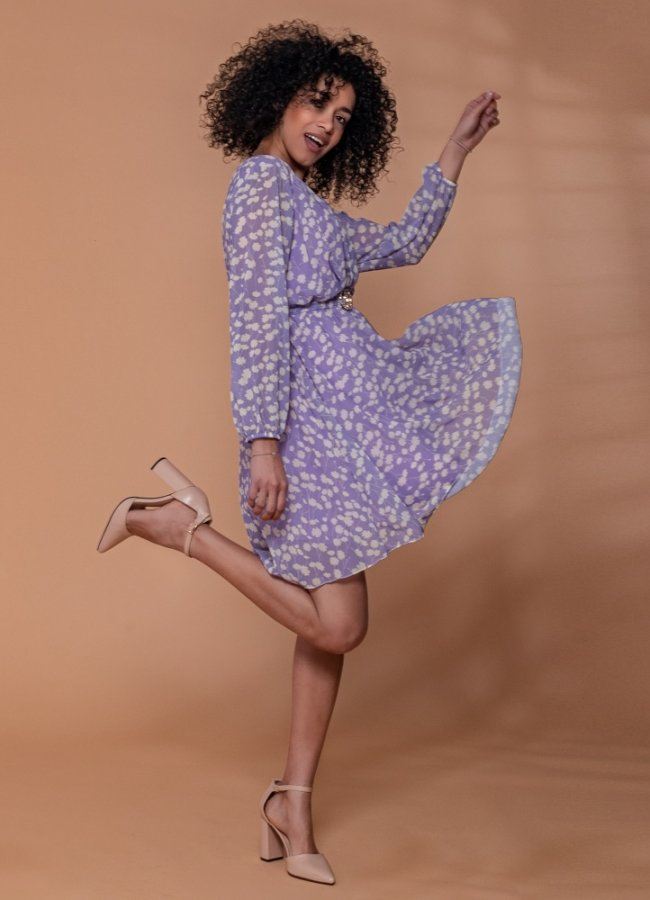 floral μίντι αέρινο φόρεμα