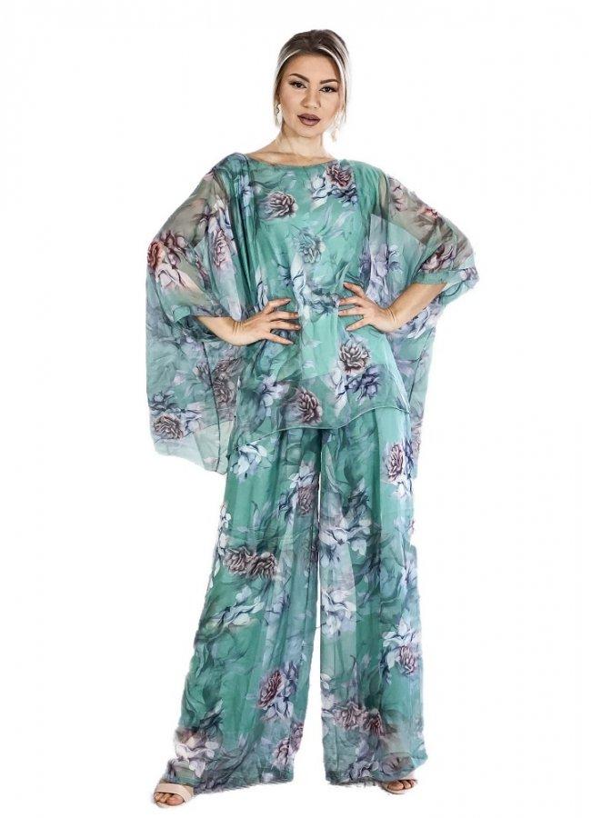floral σετ παντελόνα με μπλούζα σε φαρδιά γραμμή