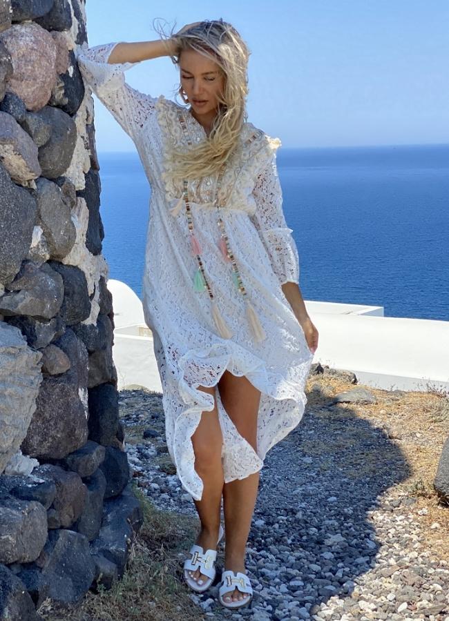 φόρεμα δαντέλα ασύμμετρο - Λευκό