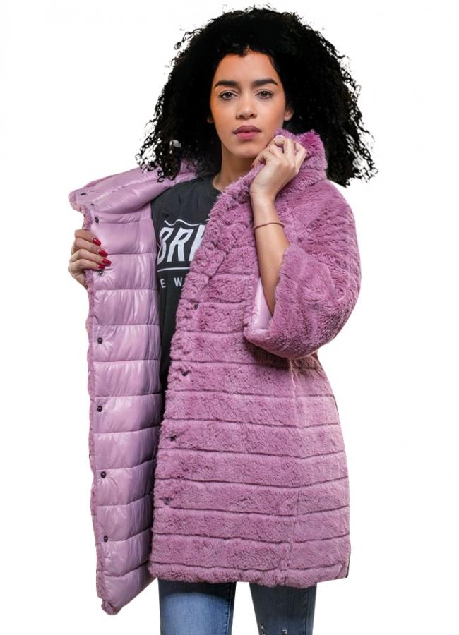 γούνινο μπουφάν διπλής όψης - Ροζ