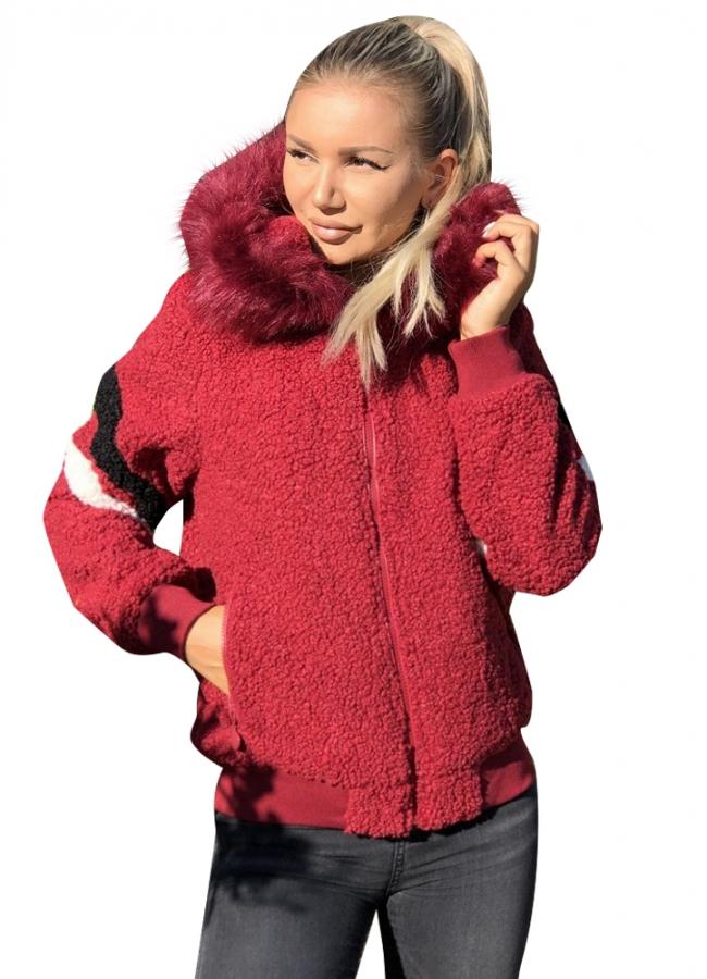 γούνινο μπουφάν/ζακέτα με γούνα στην κουκούλα - Μπορντό