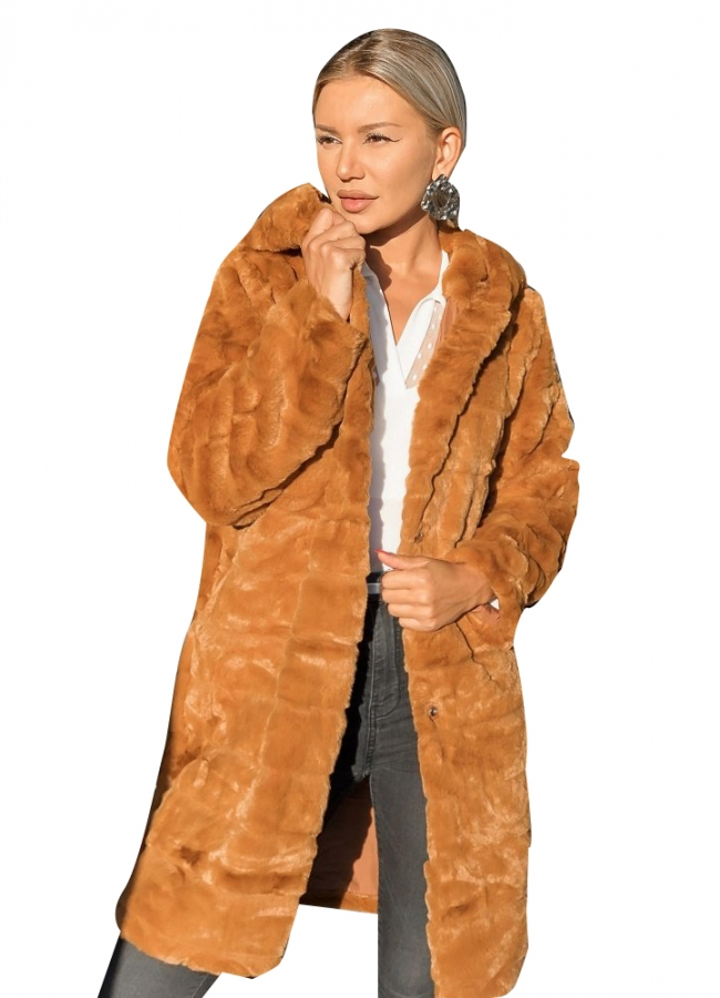 γούνινο παλτό με κουκούλα - ταμπά