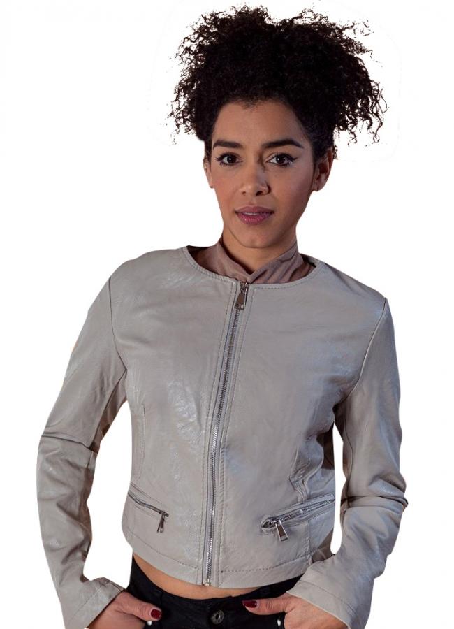κοντό δερματίνη jacket
