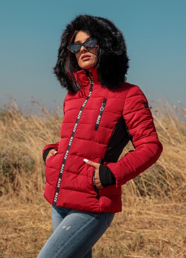 short waist jacket with fur on the hood