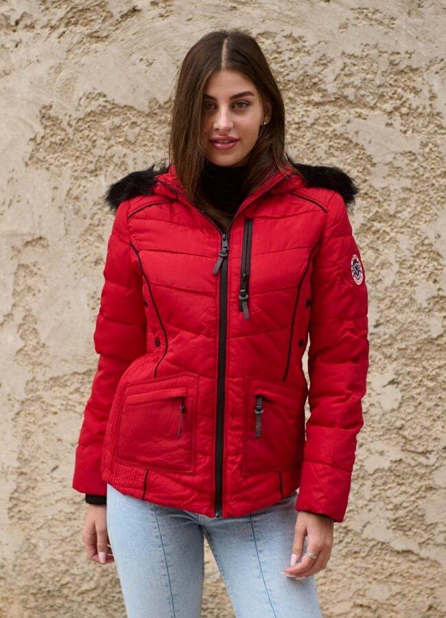 κοντό μεσάτο μπουφάν με πλούσια γούνα στην κουκούλα - Κόκκινο