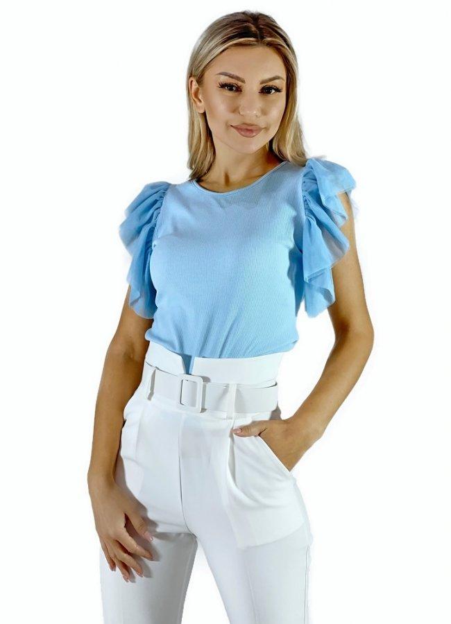 κοντομάνικη μπλούζα με οργάντζα μανίκια