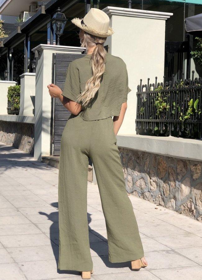 λινή παντελόνα καμπάνα με ζώνη