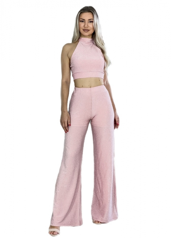 lurex σετ παντελόνα με τοπ