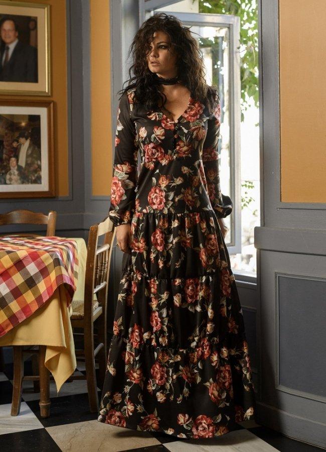 μάξι φλοράλ φόρεμα by Maria Korinthiou Collection - Μαύρο αρχικη   ρουχα   φορεματα   maxi