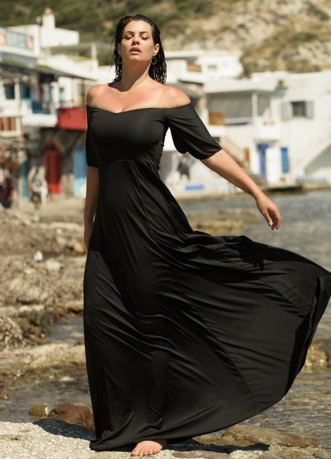 μάξι φόρεμα έξωμο με μανικάκια στο πλάι by Maria Korinthiou Collection - Μαύρο
