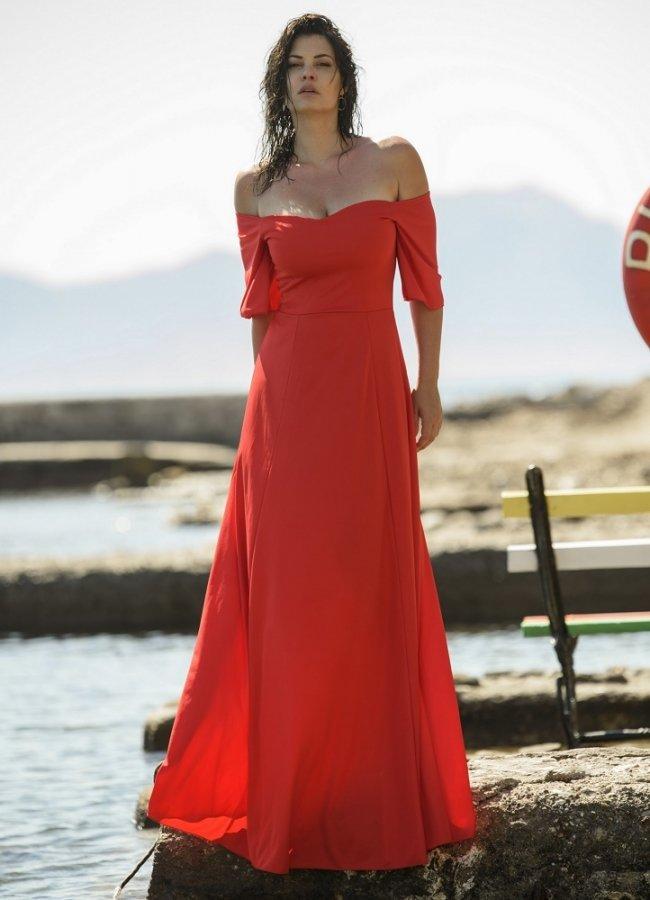 μάξι φόρεμα έξωμο με μανικάκια στο πλάι by Maria Korinthiou Collection - Κόκκινο αρχικη   ρουχα   φορεματα   maxi