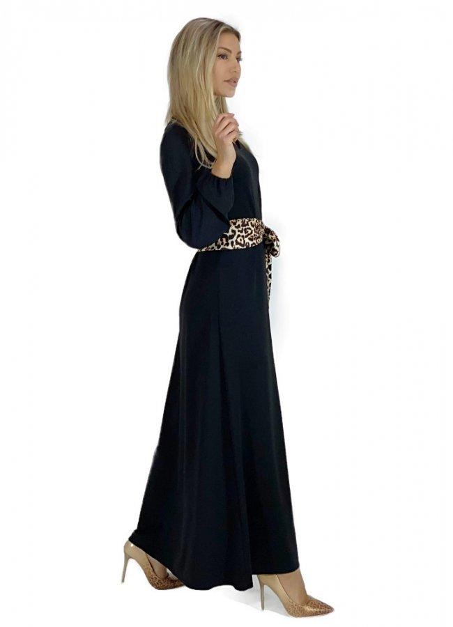 μάξι φόρεμα μακρυμάνικο με ζώνη