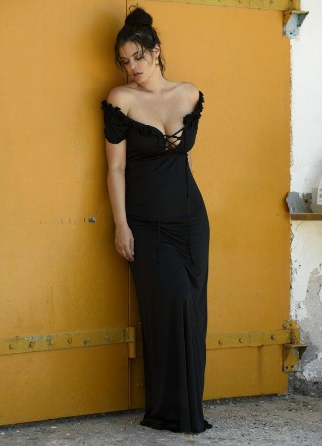 μάξι φόρεμα με κορδόνια στο μπούστο by Maria Korinthiou Collection - Μαύρο αρχικη   ρουχα   φορεματα   maxi