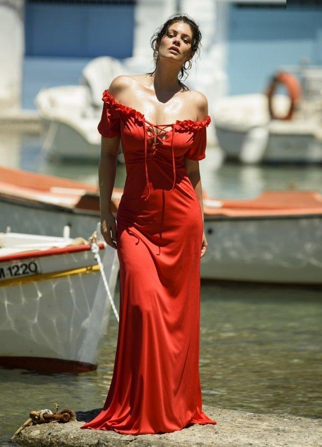 μάξι φόρεμα με κορδόνια στο μπούστο by Maria Korinthiou Collection - Κόκκινο αρχικη   ρουχα   φορεματα   maxi