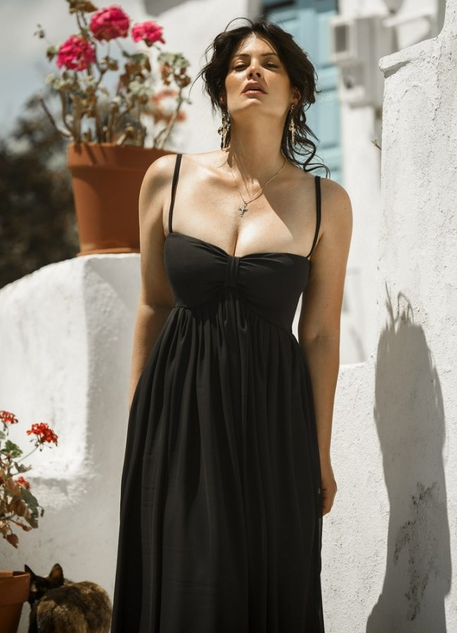 μάξι φόρεμα μουσελίνα by Maria Korinthiou Collection