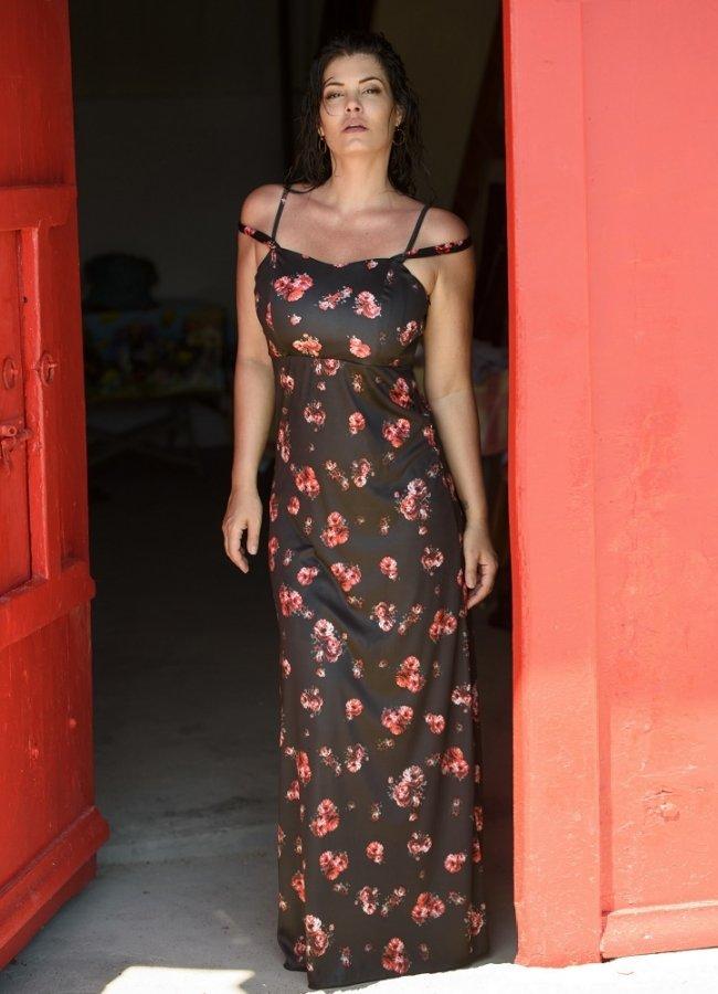 μάξι φόρεμα τιράντα by Maria Korinthiou Collection - Μαύρο floral αρχικη   ρουχα   φορεματα   maxi