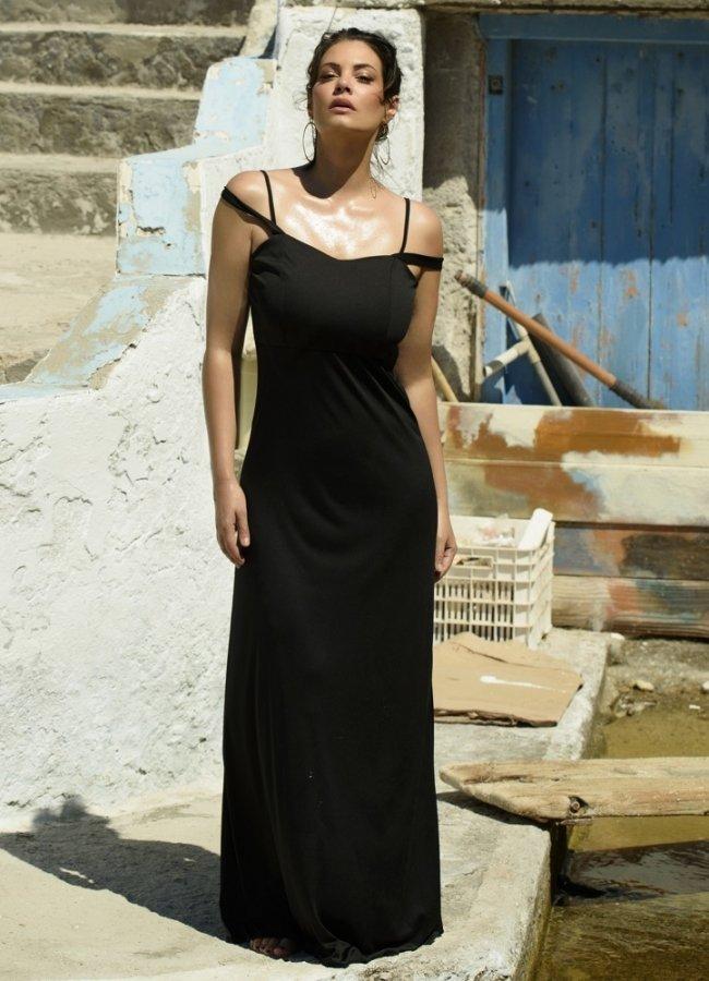 μάξι φόρεμα τιράντα by Maria Korinthiou Collection - Μαύρο αρχικη   ρουχα   φορεματα   maxi