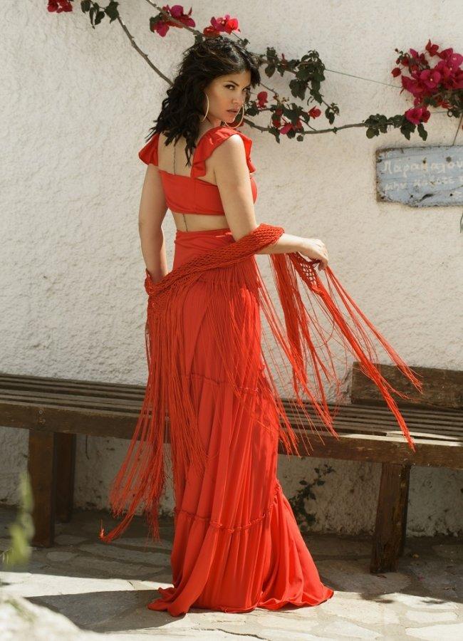 μάξι φούστα με τριπλό βολάν by Maria Korinthiou Collection