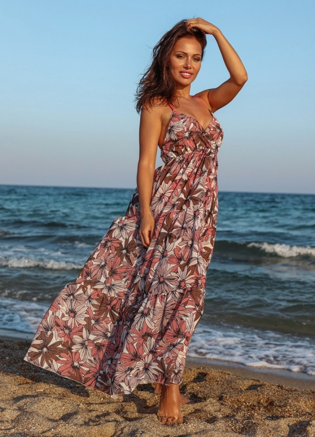 maxi floral φόρεμα τιράντα