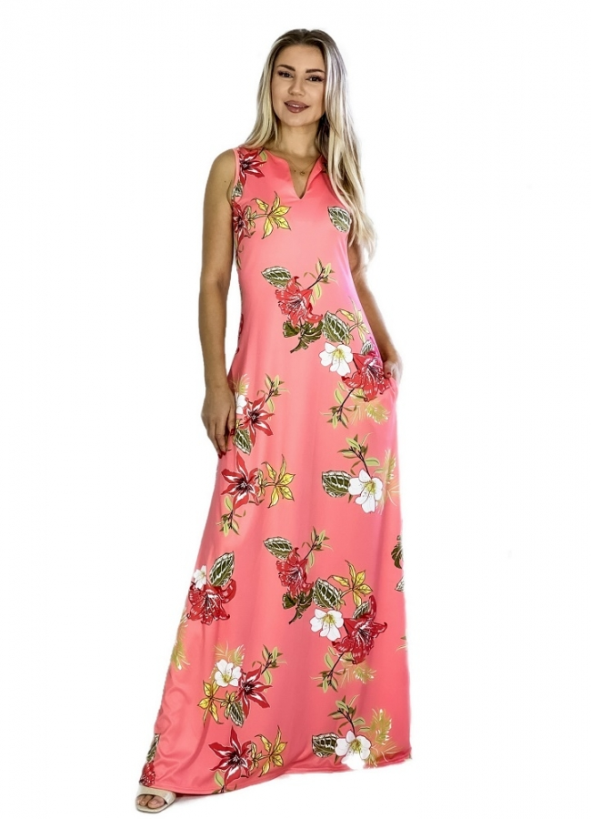 maxi φόρεμα αμάνικο