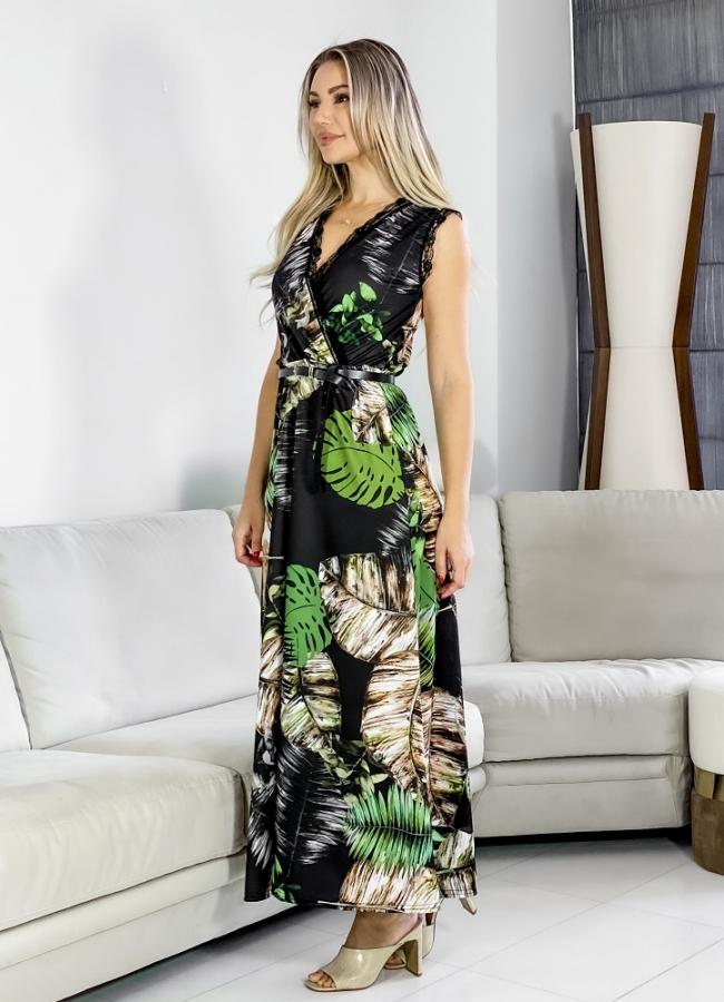 maxi φόρεμα αμάνικο με λεπτομέρειες δαντέλας