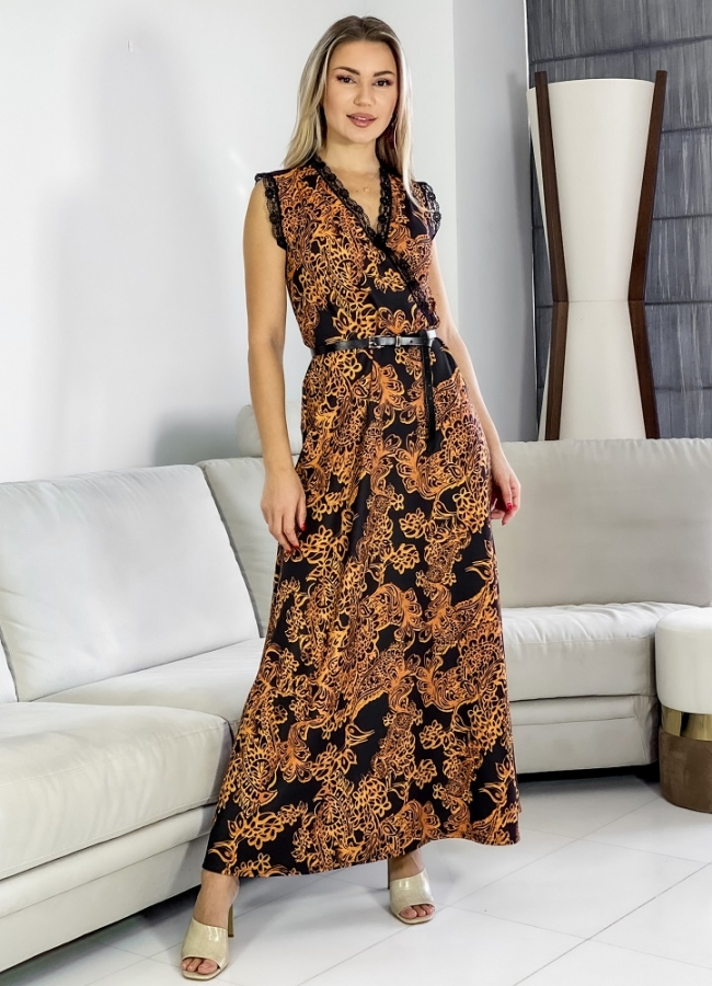 maxi sleeveless dress with lace details
