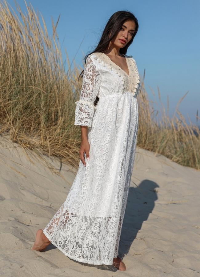 maxi φόρεμα δαντέλα με καμπάνα μανίκια
