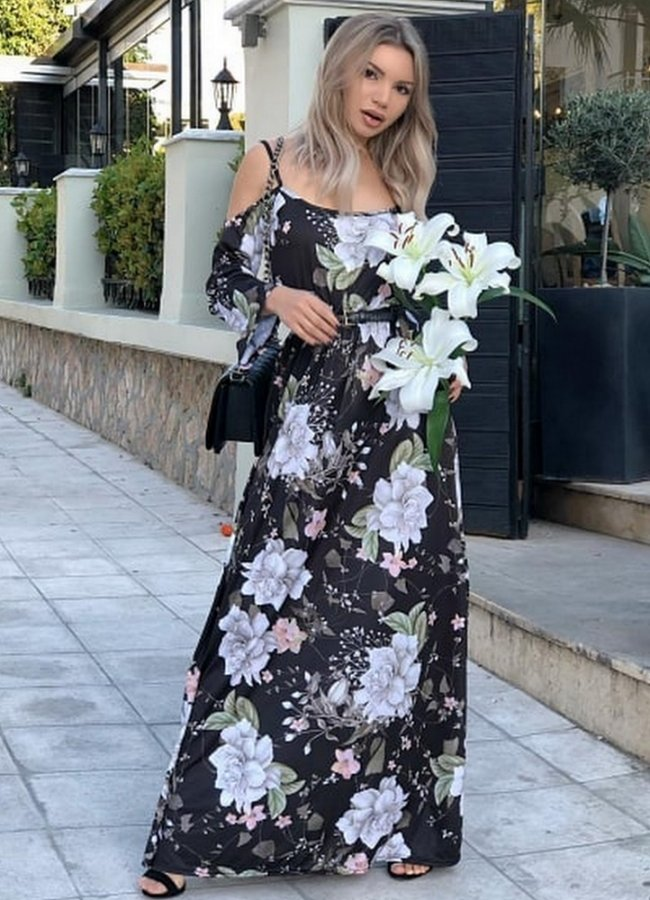 4195. Μαύρο floral Maxi φόρεμα έξωμο 0fed84b6c8c