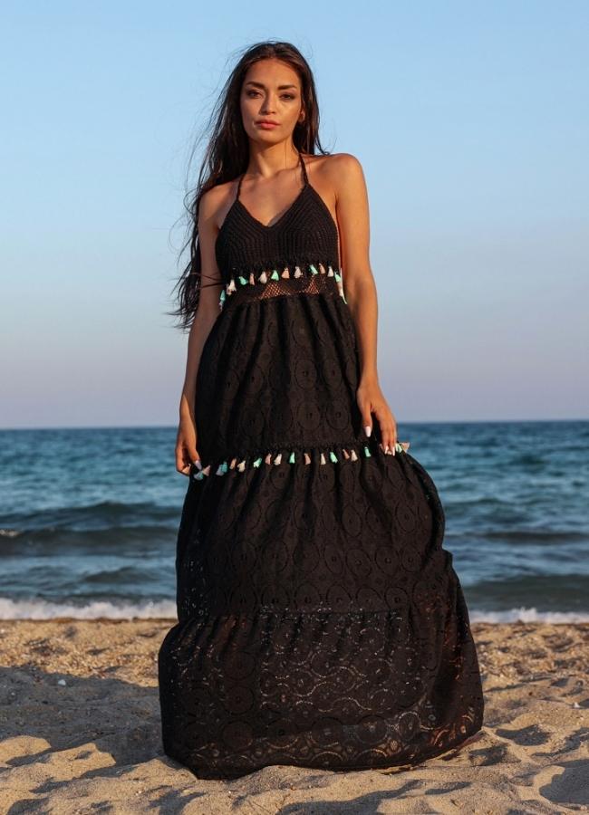 maxi φόρεμα εξώπλατο δαντέλα