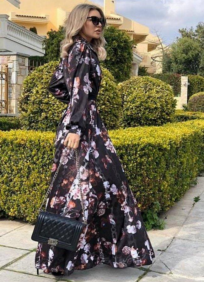maxi φόρεμα μακρυμάνικο με ζώνη d2641a7fb89